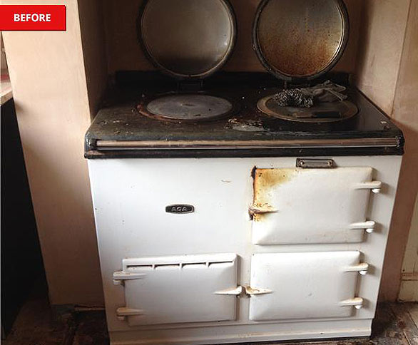 an aga before being cleaned